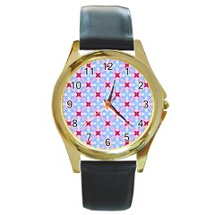 Cute Pretty Elegant Pattern Round Gold Metal Watches