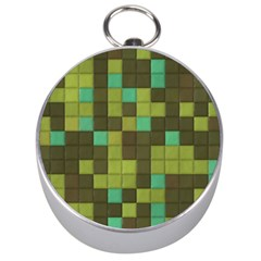 Green Tiles Pattern Silver Compass by LalyLauraFLM