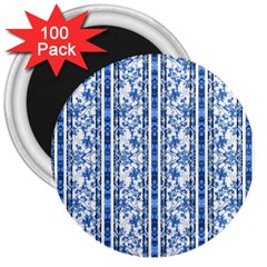 Chinoiserie Striped Floral Print 3  Magnets (100 Pack) by dflcprints