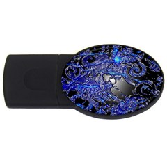 Blue Silver Swirls Usb Flash Drive Oval (4 Gb)  by LokisStuffnMore