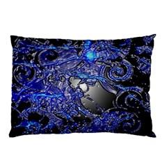 Blue Silver Swirls Pillow Cases (two Sides) by LokisStuffnMore