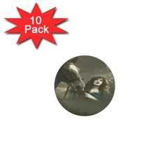 Vintage Woman With Horse 1  Mini Buttons (10 Pack)