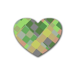 Squares And Other Shapes Rubber Coaster (heart) by LalyLauraFLM
