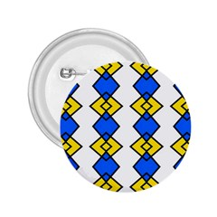 Blue Yellow Rhombus Pattern 2 25  Button