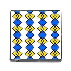 Blue Yellow Rhombus Pattern Memory Card Reader (square) by LalyLauraFLM