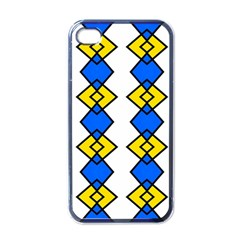 Blue Yellow Rhombus Pattern Apple Iphone 4 Case (black) by LalyLauraFLM