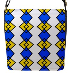 Blue Yellow Rhombus Pattern Flap Closure Messenger Bag (s) by LalyLauraFLM