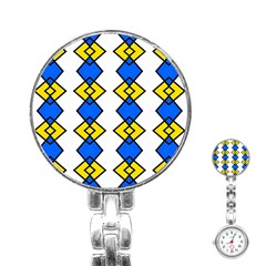 Blue Yellow Rhombus Pattern Stainless Steel Nurses Watch by LalyLauraFLM