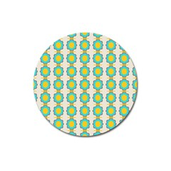 Blue Flowers Pattern Magnet 3  (round)
