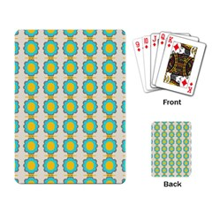 Blue Flowers Pattern Playing Cards Single Design by LalyLauraFLM
