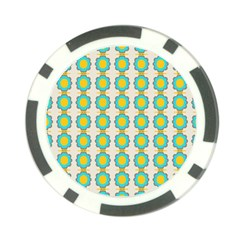 Blue Flowers Pattern Poker Chip Card Guard by LalyLauraFLM