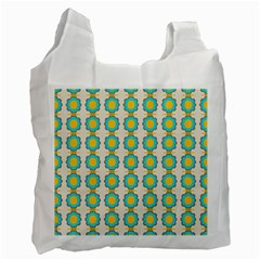 Blue Flowers Pattern Recycle Bag (one Side) by LalyLauraFLM