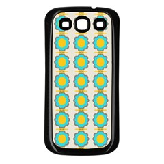 Blue Flowers Pattern Samsung Galaxy S3 Back Case (black) by LalyLauraFLM