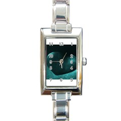 Teal Heart Rectangle Italian Charm Watches
