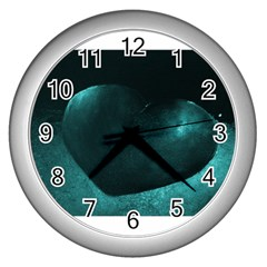 Teal Heart Wall Clocks (silver)  by timelessartoncanvas