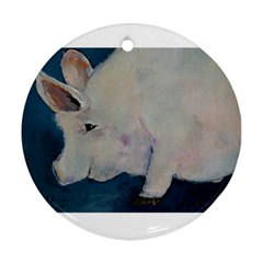 Piggy No  2 Round Ornament (two Sides)  by timelessartoncanvas