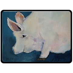 Piggy No  2 Fleece Blanket (large)  by timelessartoncanvas