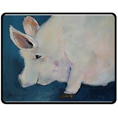 Piggy No  2 Double Sided Fleece Blanket (medium)  by timelessartoncanvas