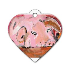 Piggy No 3 Dog Tag Heart (two Sides) by timelessartoncanvas
