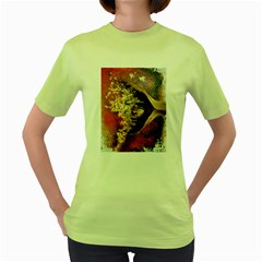 Red Mask Women s Green T-shirt by timelessartoncanvas