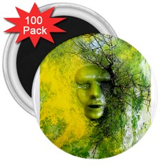 Green Mask 3  Magnets (100 Pack) by timelessartoncanvas