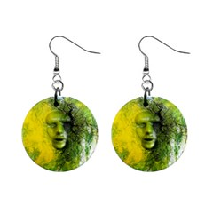 Green Mask Mini Button Earrings