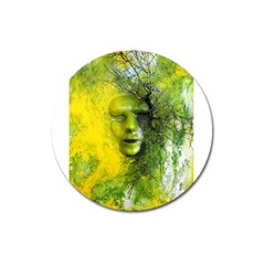 Green Mask Magnet 3  (round) by timelessartoncanvas