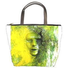 Green Mask Bucket Bags by timelessartoncanvas