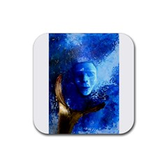 Blue Mask Rubber Square Coaster (4 Pack)  by timelessartoncanvas