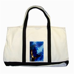 Blue Mask Two Tone Tote Bag  by timelessartoncanvas