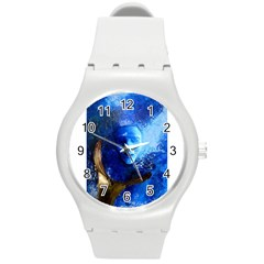 Blue Mask Round Plastic Sport Watch (m)