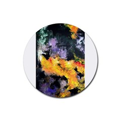 Space Odessy Rubber Round Coaster (4 Pack)  by timelessartoncanvas