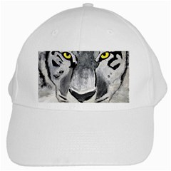 The Eye Of The Tiger White Cap by timelessartoncanvas