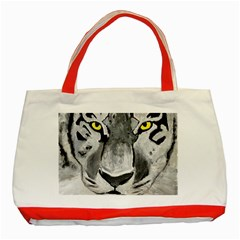 The Eye Of The Tiger Classic Tote Bag (red)  by timelessartoncanvas