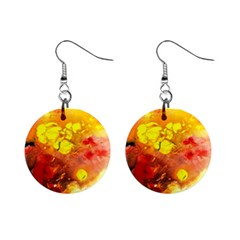Fire, Lava Rock Mini Button Earrings