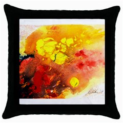 Fire, Lava Rock Throw Pillow Cases (black)