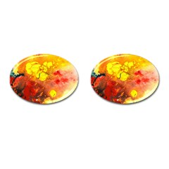 Fire, Lava Rock Cufflinks (oval) by timelessartoncanvas