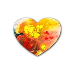 Fire, Lava Rock Rubber Coaster (heart)  by timelessartoncanvas
