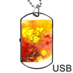 Fire, Lava Rock Dog Tag Usb Flash (two Sides)