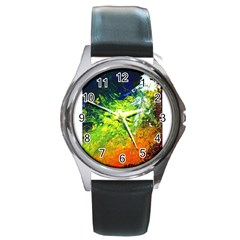 Abstract Landscape Round Metal Watches by timelessartoncanvas