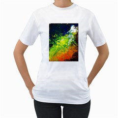 Abstract Landscape Women s T Shirt (white) (two Sided)