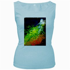 Abstract Landscape Women s Baby Blue Tank Tops