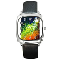 Abstract Landscape Square Metal Watches