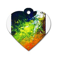 Abstract Landscape Dog Tag Heart (one Side)