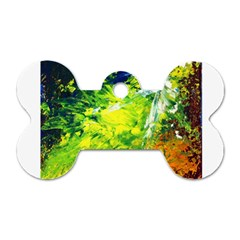 Abstract Landscape Dog Tag Bone (two Sides)