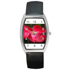 Bright Red Rose Barrel Metal Watches