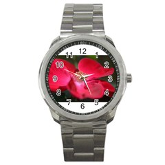 Bright Red Rose Sport Metal Watches