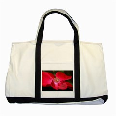 Bright Red Rose Two Tone Tote Bag  by timelessartoncanvas