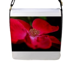 Bright Red Rose Flap Messenger Bag (l)  by timelessartoncanvas
