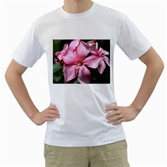 Pink Oleander Men s T-shirt (white) (two Sided) by timelessartoncanvas